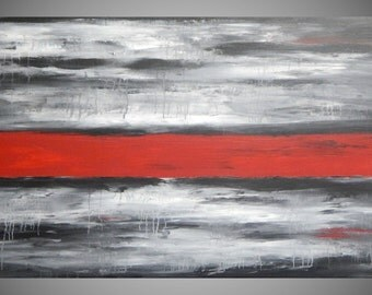 Painting Art Paintings Acrylic Painting Abstract Landscape Black White Red Large Canvas Art Deco Abstract Art Ready to Hang by ilonka