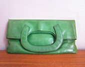 Vintage french green leather BAG, 1970, Shabby chic, Fashion, Mode, Handbag, Purse