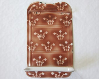 Vintage french enamel utensil rack, Enamelware, Holder, Brown kitchen, 1930, Antique home decor, France