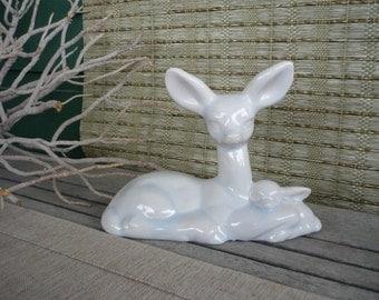 Ceramic Deer Figurine, Deer and Fawn, Collectable Deer
