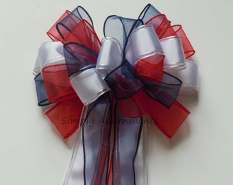 Patriotic Holidays Bow Fourth of July Bow Red White Blue Patriotic Bow Independence Day Decoration Election Day Bow Military Bow