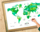 Wedding Guest Book Map - Gift Idea - Wedding Guestbook - Bridesmaid Gift - Bridal Shower -  Green Day Color