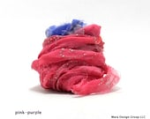 vintage sari silk ribbon - 24 feet, pink-purple (inv s-11)