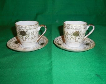 Two (2), Demitasse Cups and Saucers, Marked; Made in Japan. Eggshell Porcelain.