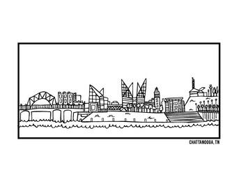 Chattanooga TN Skyline - Elle Karel Original Illustration 4x6 Print on 100% PC Recycled Paper, City, Black, White, Hometown, Cityscape