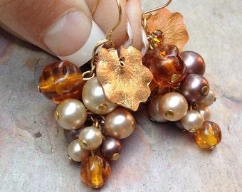 Vintage Grape Earrings Vineyard Bridal Wedding Amber Pearl Cluster Dangles 1960