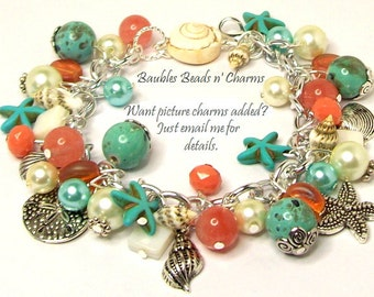 Ocean Beach Charm Bracelet Jewelry, Coral Turquoise Beaded Charm Bracelet Jewelry, Summer Beaded Charm Bracelet