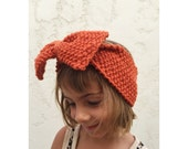 Girls Knit Big Bow Headband - Pumpkin Orange Bow Head Band