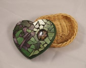 Mosaic Jewelry box, Heart box, Stained Glass Wicker Basket, Deer Heart Box
