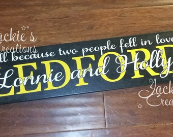 All Because Two People Fell in Love Wood Sign/ Personalized Last Name Wood Sign/ Wedding Gift/ Custom Wood Sign/ Established Family Sign