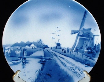 Delft Plate Windmill Canal Victorian Blue And White 1890s Charger Hand Painted Holland