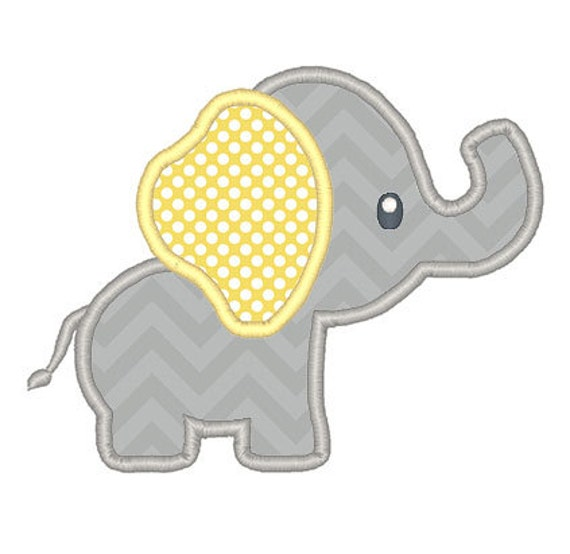 Baby elephant applique embroidery design instant download for Appliques design