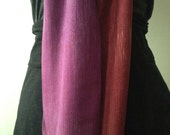 Handwoven hand dyed ombre purple red narrow bamboo scarf