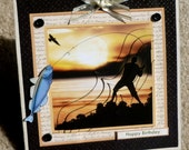 Birthday Fishing Themed Handmade 3D Greeting Card with Paper Layering
