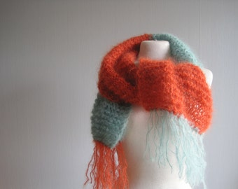 Scarf Knit, Knitted Scarf, Fringe Scarf, Mohair Scarf, Knitted Scarves, Orange Mint Scarf, Colorblock Scarf, Handknit Scarf
