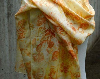 Eco Print Scarf. Eucalyptus Print. Long Silk Scarf. Eco Friendly Shawl. Hand rolled edge.