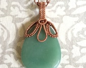 Green Aventurine Wire Wrapped in Copper
