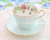 Vintage, English Bone China by Aynsley, Teacup and Saucer, Baby Boy Shower, Gifts for Her, Wedding Gift - c. 1934 - 1950's