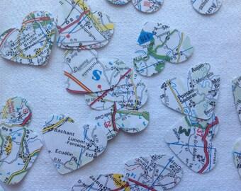 map confetti - 250 hearts - wedding confetti -  heart confetti - vintage French map confetti - table decoration - map hearts - party decor