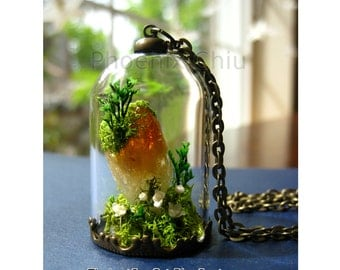Raw Citrine necklace Tree of Life necklace Terrarium necklace Gemstone jewelry Crystal Miniature terrarium Moss necklace Plant necklace