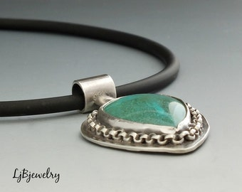 Silver Pendant, Chrysocolla Pendant, Sterling Silver, Chrysocolla, Necklace, Metalsmith Jewelry, Handmade Jewelry