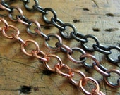 Solid raw Copper 7x5.9mm Plain Cable Chain - By the foot