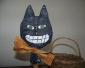 Primitive Black Cat Vintage Bobbin MakeDo
