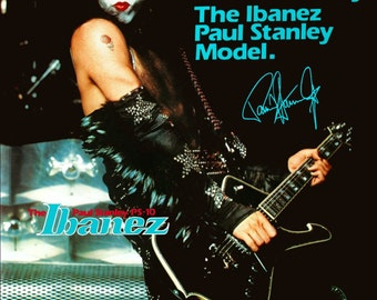 KISS Collectibles - Paul Stanley Black Ibanez PS10 Iceman Guitar Stand-Up Display. Paul Stanley Gene Simmons Ace Frehley Peter Criss