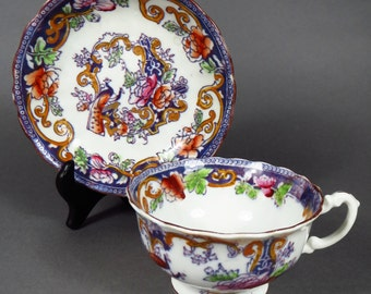 1894 Antique English Floral and Peacock Bird Cup and Saucer Plus Free US Shipping