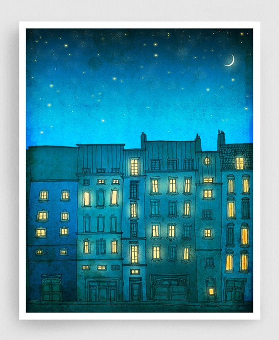 You are not alone (vertical) - Paris illustration Art prints Paris poster Home decor Modern Wall decor Nursery Kids room art Turquoise Blue
