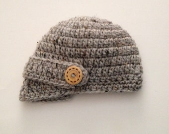 Newborn Visor Hat, Crochet Baby Hat, Baby Boy Hat,Brim Hat,Newborn Boy Clothes, Newsboy Hat Newborn Photo Prop Made To Order