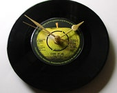 "John Lennon Vinyl Record CLOCK ""Stand By Me"" made from recycled 7"" record. Great birthday gift for Beatles fan black green apple"