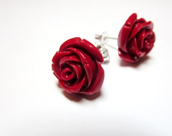 Red rose post earrings -blue rose necklace -red rose ring -Vintage Style Ring- Antique ,Brass ,Filigree, Adjustable -Free Gift With Purchase