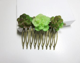Succulent hair comb-Jasmin comb -Wedding Hair Comb  Romantic Bridal Hair Accessories  White Flowers comb sunflower comb