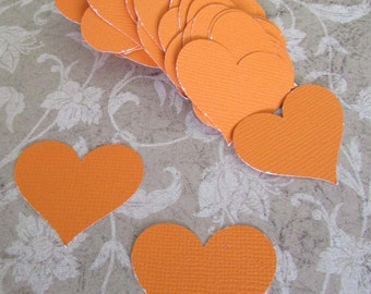 paper hearts heavy card stock wedding confetti 60+ pieces orange die cut heart punches