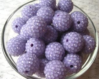 Lavender Rhinestone Bead, 10 pcs, 20mm Bumpy Chunky Necklace Bead, Disco Ball Bead, Gumball Beads, Bubblegum Bead, Acrylic Bead