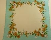 NICE Turquoise Handkerchief, Dogwood Flowers, Scalloped Edges, No Damage