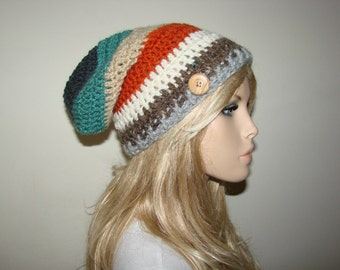 orange brown slouchy beanie, multicolor crochet slouchy hat with wooden button Slouchy School Girl Man Woman Fashion Oversized Hat Cap