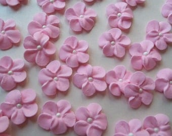 Small light pink royal icing flowers -- Edible handmade cake decorations cupcake toppers (24 pieces)