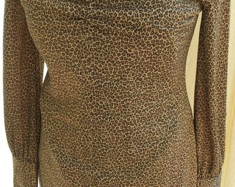 Cheetah, Animal Print, 80's Vintage Long Sleeve Dress, Shimmery Slimming, Sexy V Neck, Woman's, Junior's Size 11/12 by Express Brand