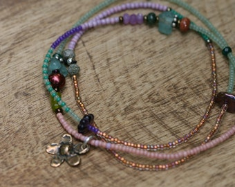 Single Beaded Strand * Gratitude for Each Seed* Necklace N.11- beaded simple,single strand, brass cast flower charm,festive,multicolor,boho
