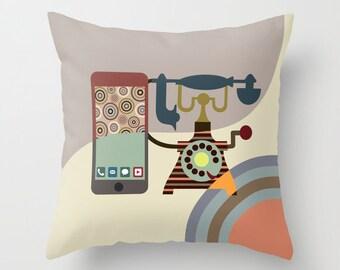 Unique Throw Pillow, Decorative Pillows, Pillow Cover, Cute Pillow, Designer Pillow, Retro Telephone Decor, Beige, Cream