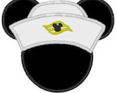 Mickey Inspired Silhouette Head With Sailor Hat Cruise Fan Art - DIY Applique Design For Embroidery Machines- Instant Download