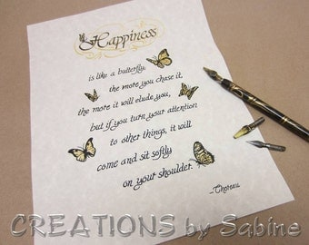 Handwritten Calligraphy Thoreau Happiness Quote Original Art Ready To Frame Letter Size / Inspirational Butterflies / READY TO SHIP (2)