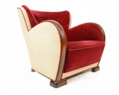 French Art Deco Club Chair in Scarlet + Cream Mohair