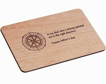 Compass Father Day Wood Laser-Cut Card