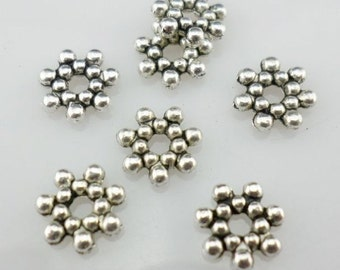 Antique Silver Small Flower (30) Spacer Beads 6.5mm (Lead-free)