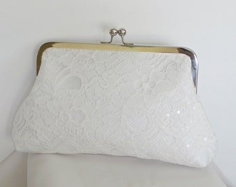 Vintage Inspired Bridal Clutch, Bridesmaid Clutch, Lace Wedding Purse, Any Color