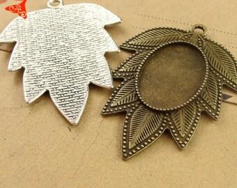 10pcs 2 Colors--Antique Bronze / Antique Silver 18x25mm Brass Oval Cameo Base Setting Pendant