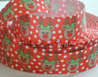 "1"" Ribbon by the Yard-CHRISTMAS Polka Dot Reindeer-red white grosgrain-sewing-hair bows- Ribbon Lane Supplies"